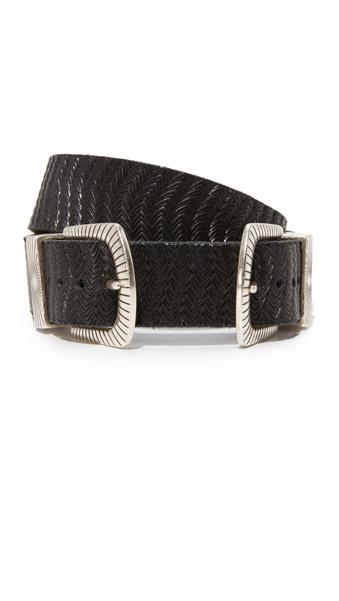 B. Belt Double Buckle Embossed Belt - Black