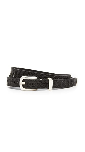 B. Belt Skinny Embossed Belt - Black