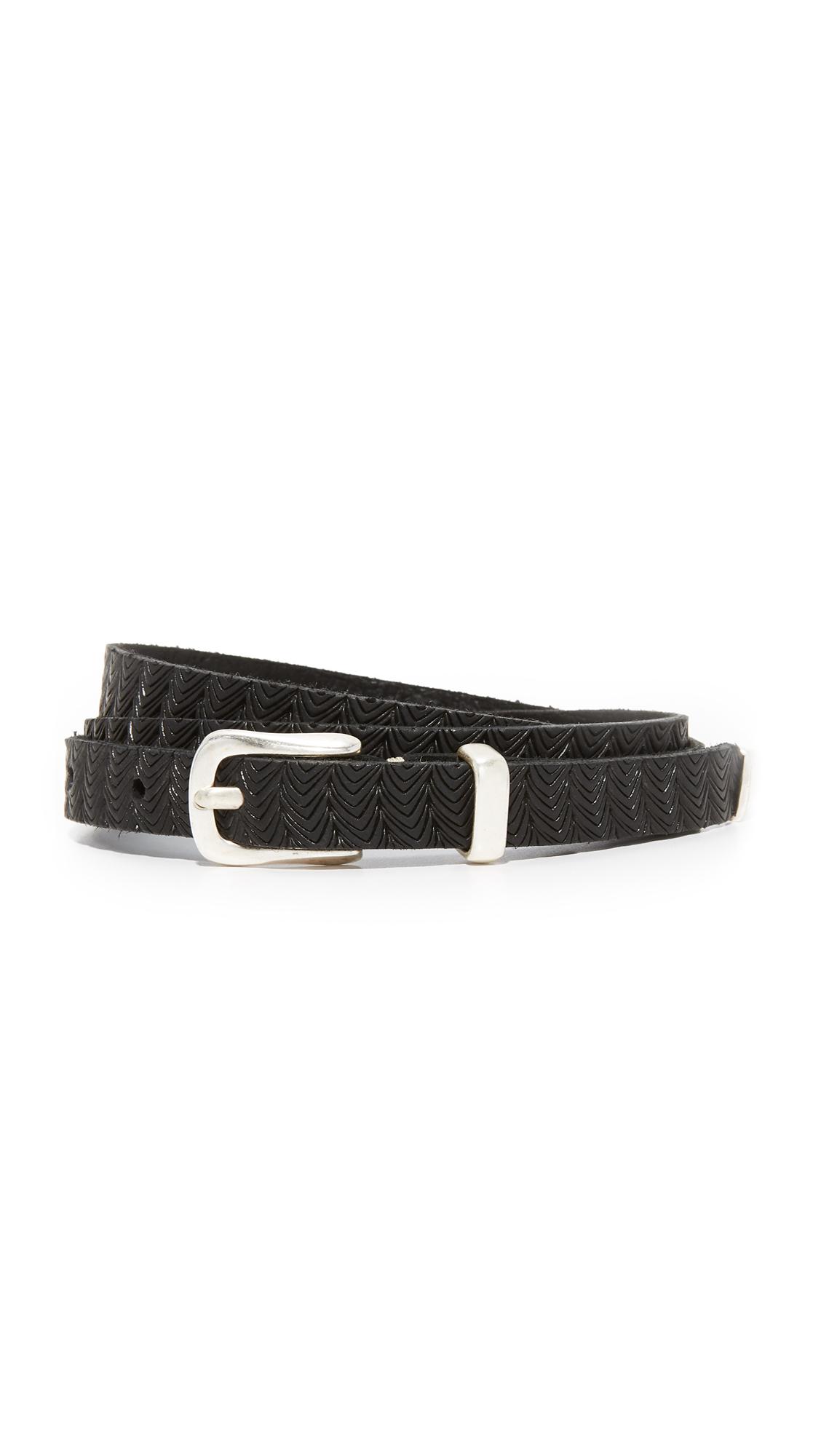 B. Belt Skinny Embossed Belt - Black