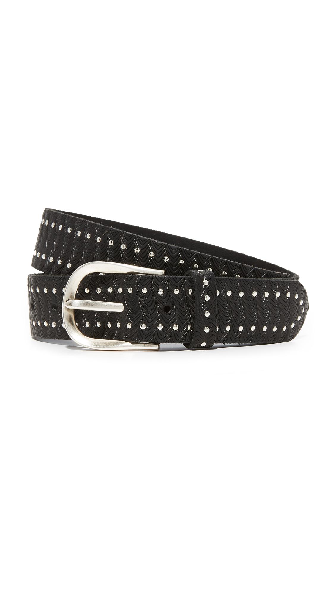 B. Belt Mini Border Studs Embossed Belt - Black