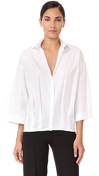 Barbara Bui Short Sleeve Blouse In Optic White