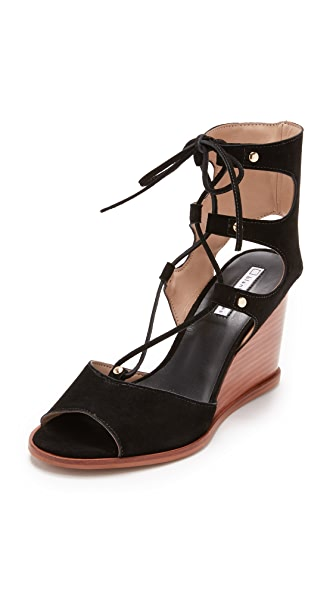 blank canvas Lace Up Wedge Sandals - Black