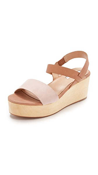 Blank Canvas Slingback Wood Day Wedges - Wheat/Blush