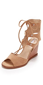 Lace Up Wedge Sandals                blank canvas