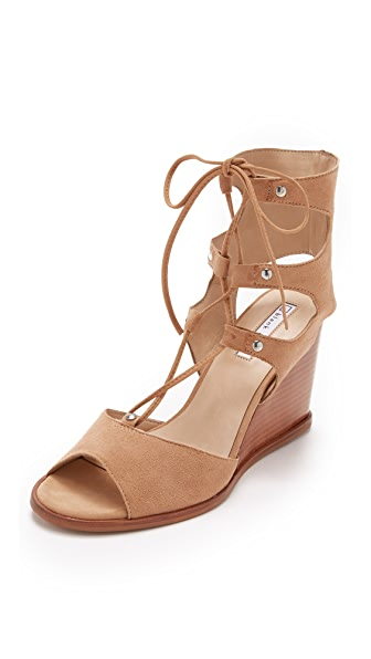 Blank Canvas Lace Up Wedge Sandals - Wheat