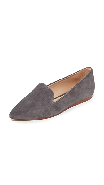 blank canvas Suede Pointed Toe Flats - Slate
