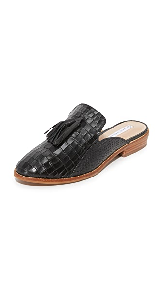 blank canvas Croco Mule Tassel Slides - Black
