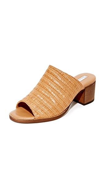 blank canvas Raffia City Mule Sandals - Camello