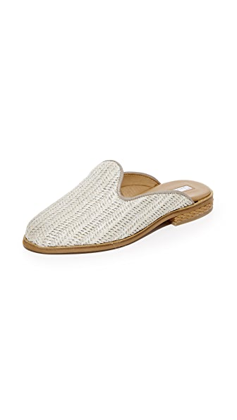 blank canvas Raffia Slipper Mules