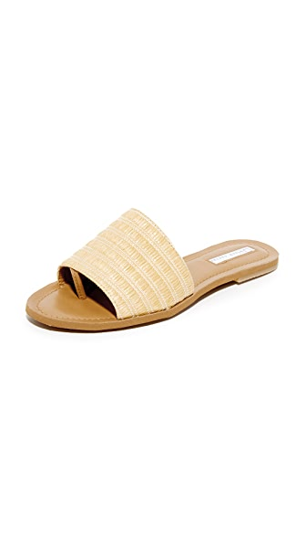 blank canvas Raffia Slide Sandals - Beige