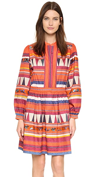Bcbgmaxazria Jourdanna Dress - Brick Multi