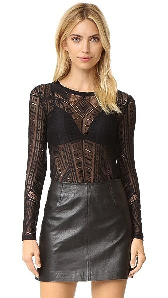 Bcbgmaxazria Lace Blouse - Black at Shopbop