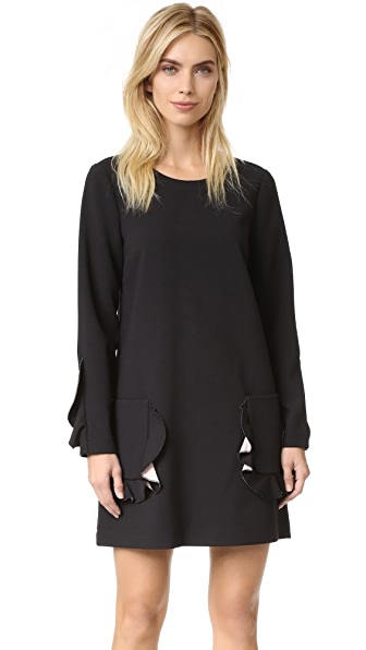 BCBGMAXAZRIA Ruffle Pocket Long Sleeve Dress