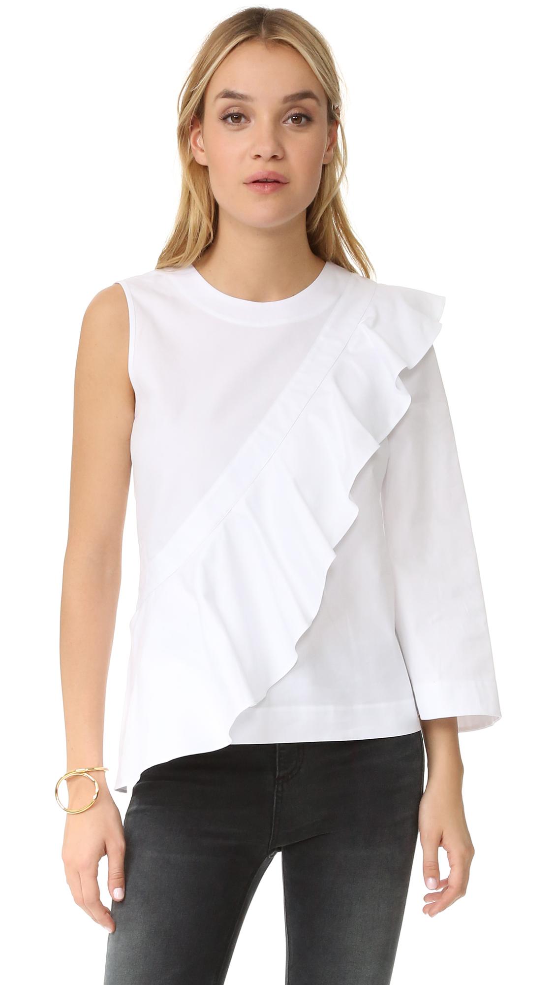 Bcbgmaxazria Leilone One Shoulder Ruffle Blouse - White at Shopbop
