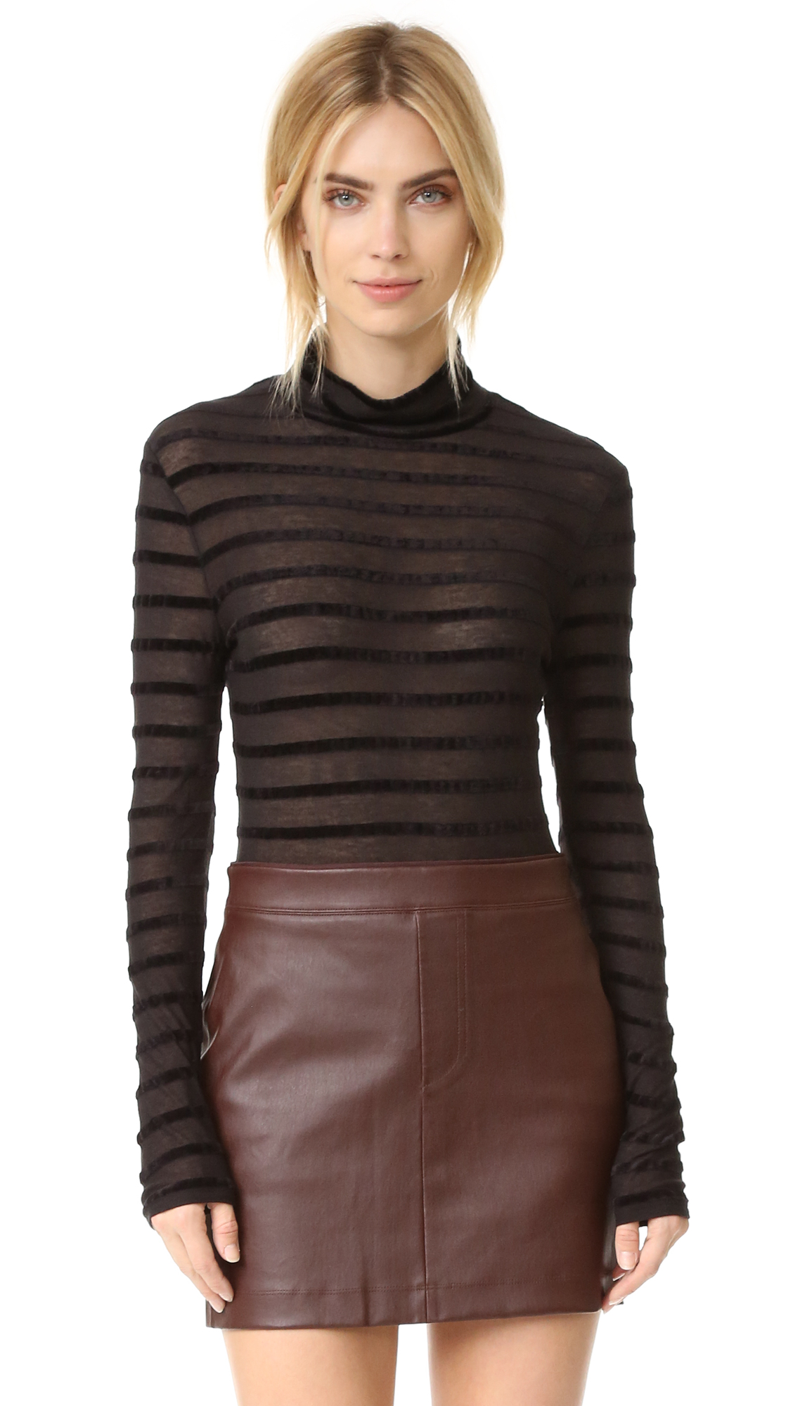 Bcbgmaxazria Turtleneck Sweater With Stripes - Black Combo at Shopbop