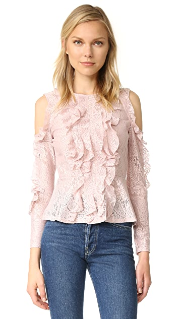 BCBGMAXAZRIA Cold Shoulder Peplum Blouse