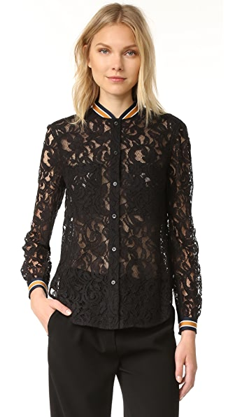 BCBGMAXAZRIA Кружевная блуза с длинными рукавами