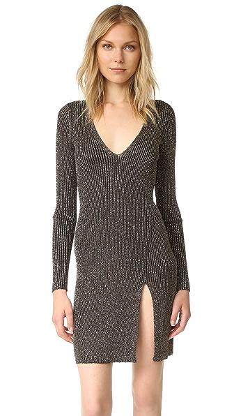 BCBGMAXAZRIA Deep V Lurex Mini Dress - Bronze Combo