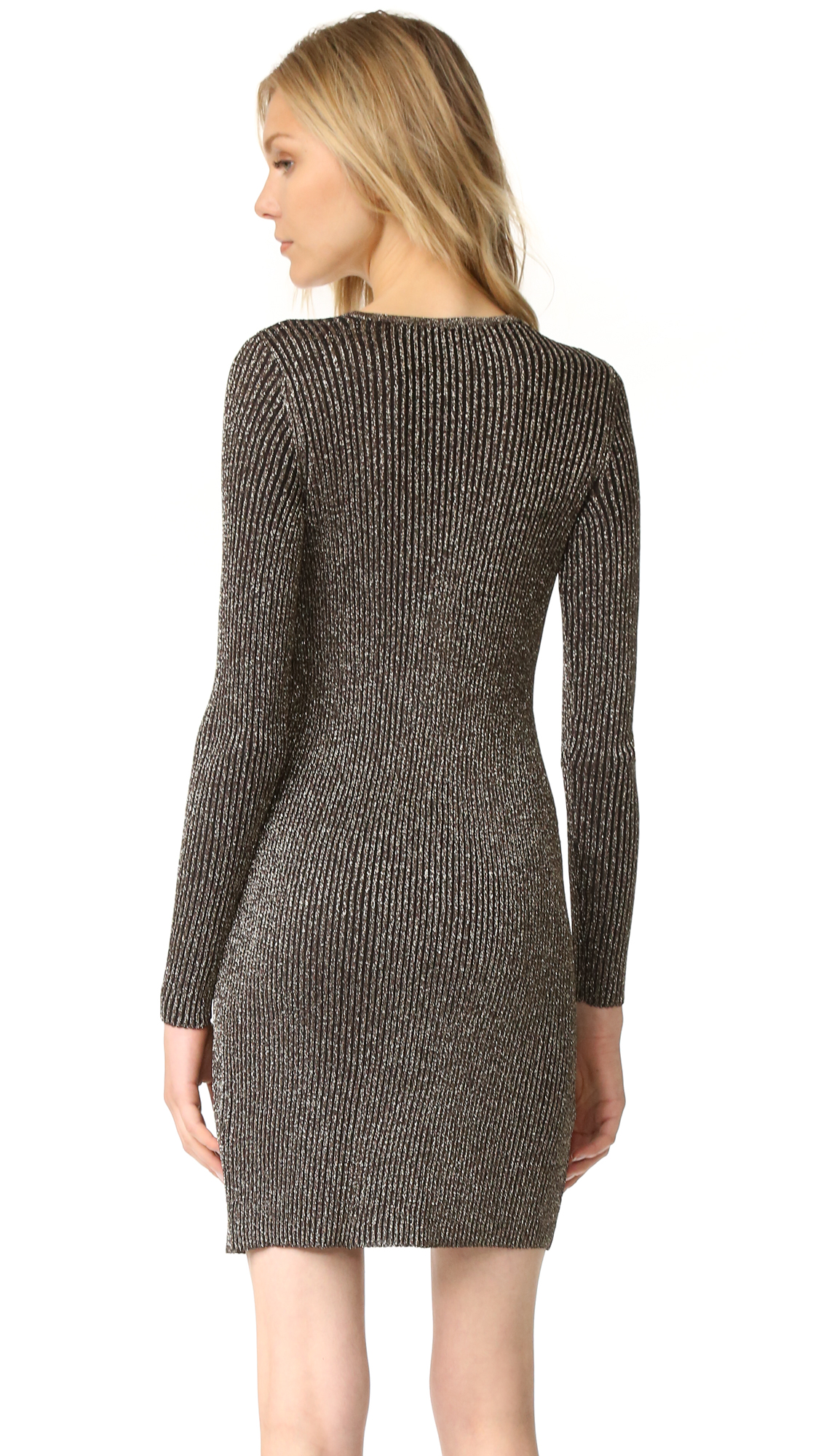 Long sleeve lurex mini dress