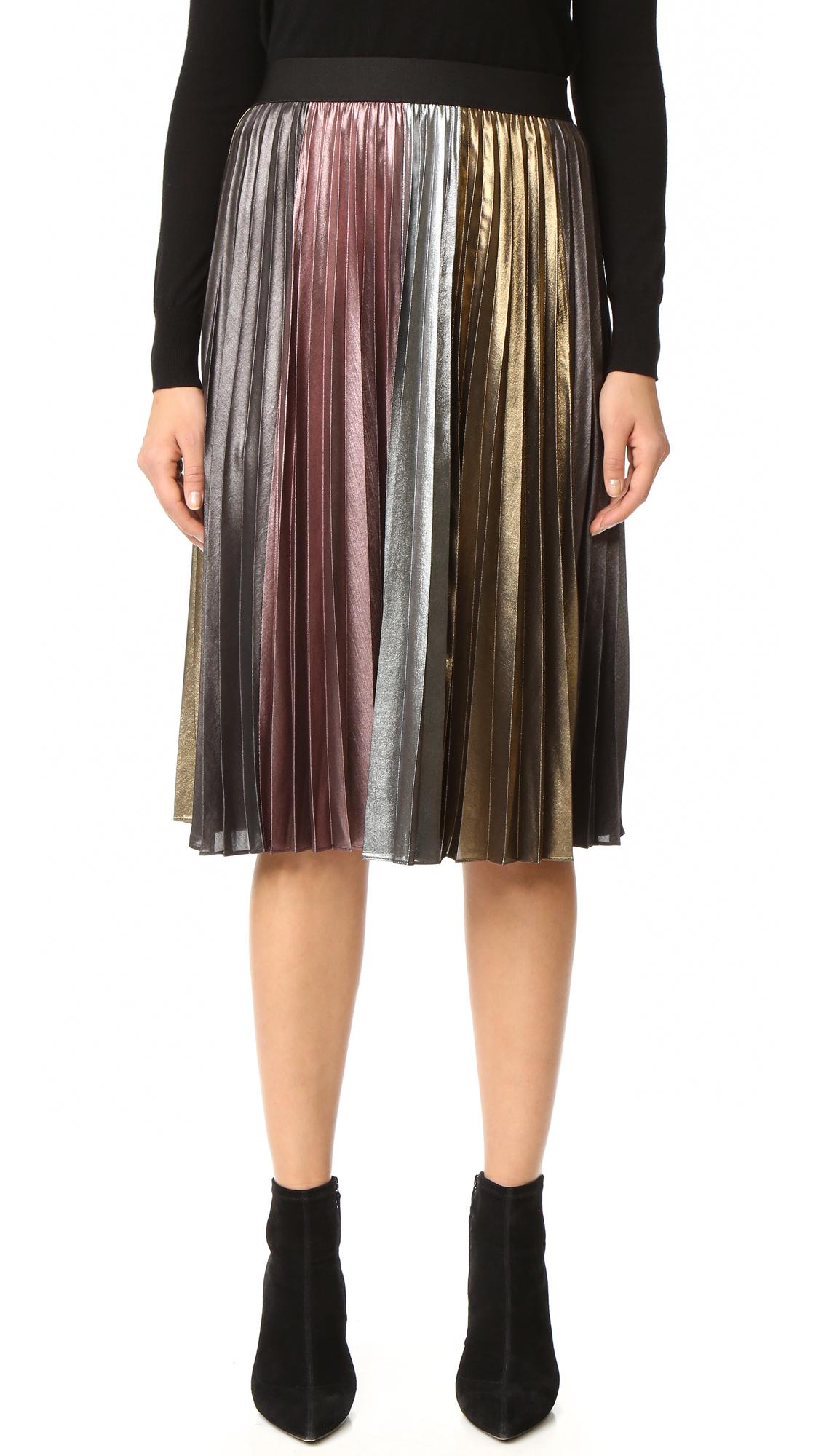 Bcbgmaxazria Metallic Pleated Skirt - Metallic Multi