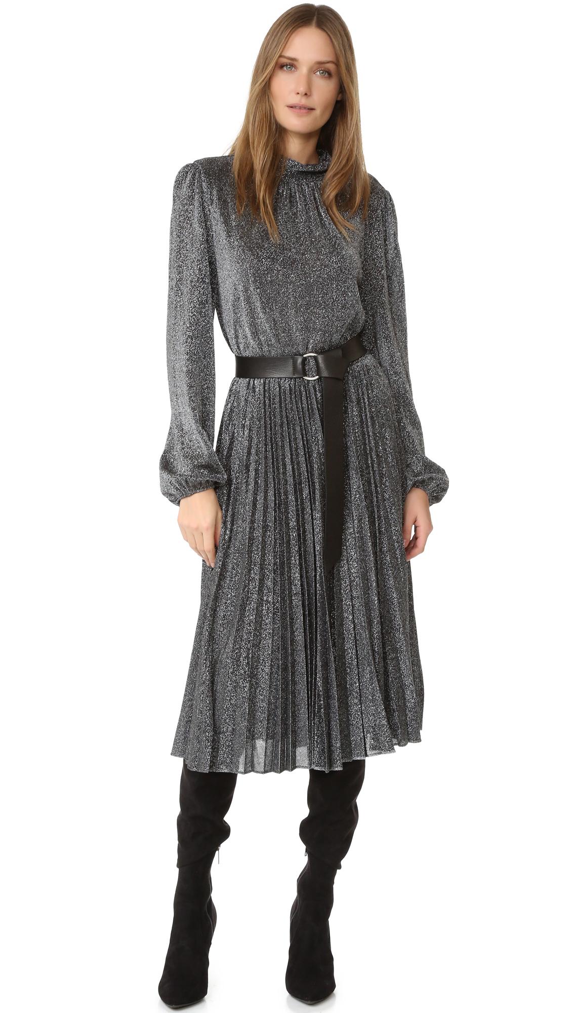 Bcbgmaxazria Pleated Metallic Dress - Silver Black at Shopbop