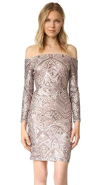 BCBGMAXAZRIA Embellished Off Shoulder Dress - Rose Gold Combo