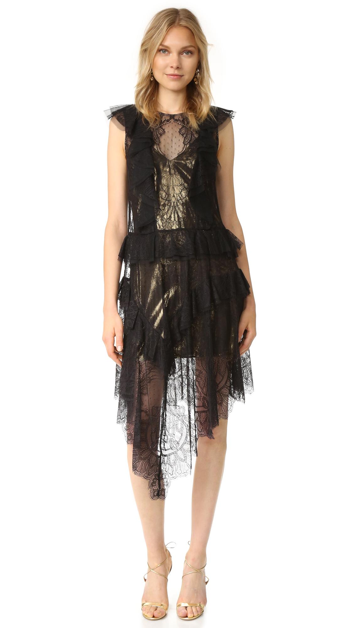 Bcbgmaxazria Lace Ruffle Kailin Dress - Black at Shopbop