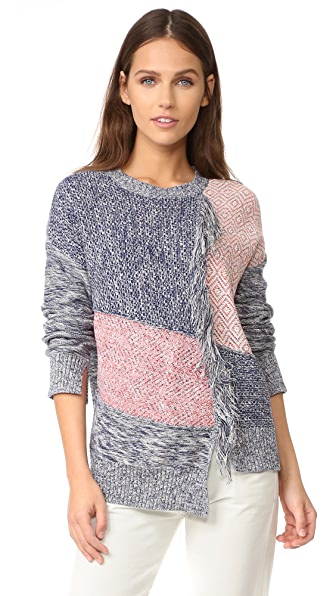 BCBGMAXAZRIA Fringed Patch Sweater at Shopbop