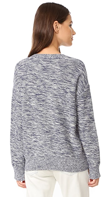 BCBGMAXAZRIA Fringed Patch Sweater