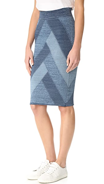 BCBGMAXAZRIA Patchwork Denim Skirt at Shopbop