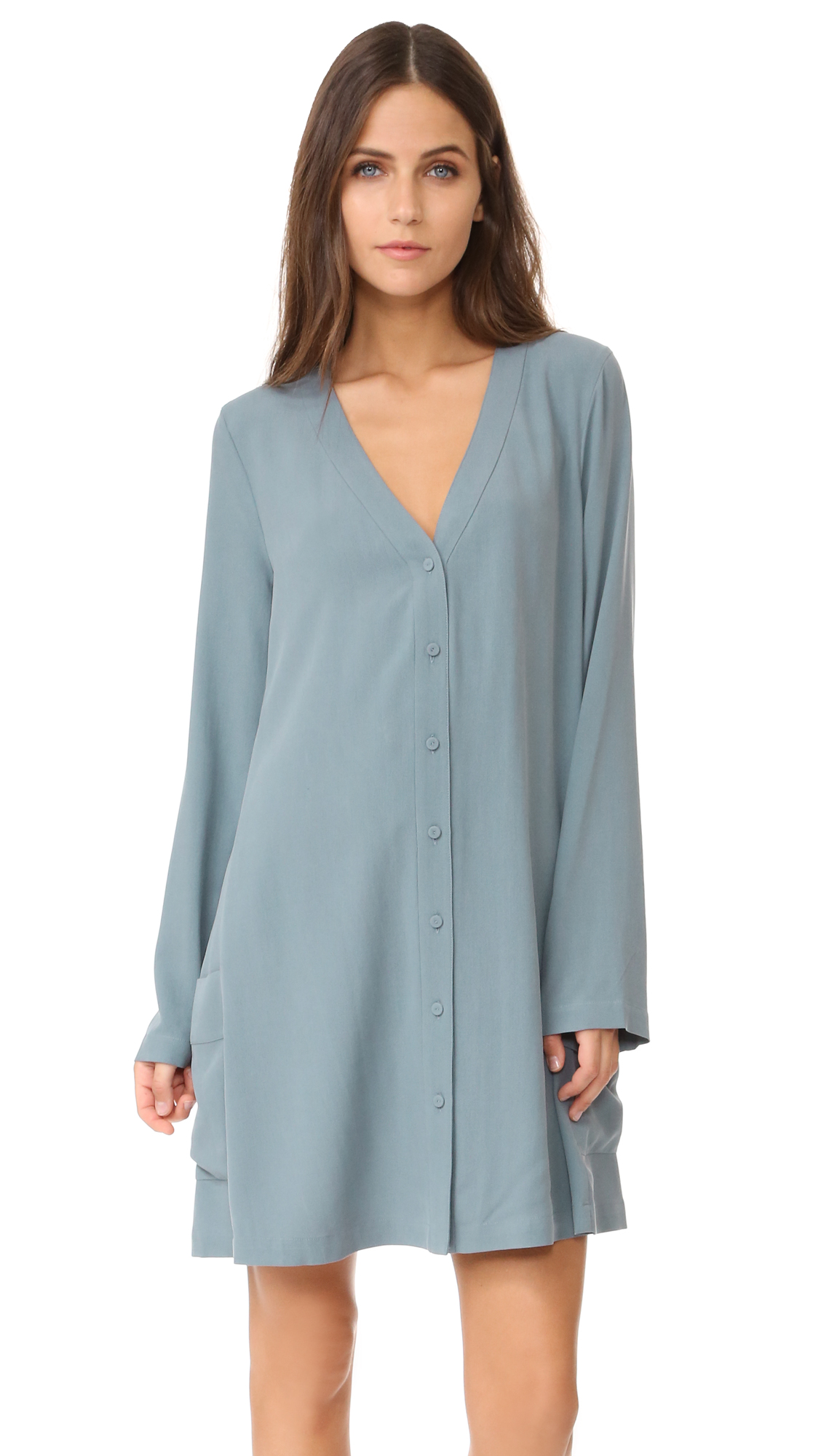 Bcbgmaxazria Button Flare Dress - Light Ash Blue at Shopbop