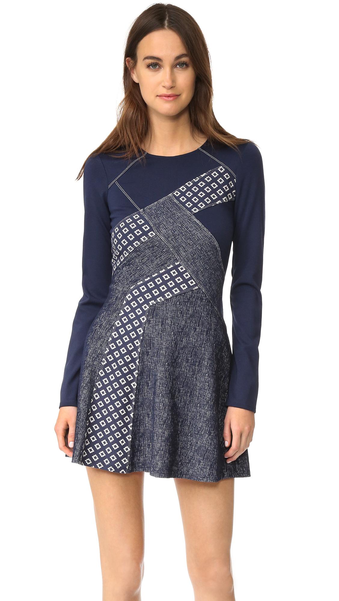 Bcbgmaxazria Patchwork Dress - Dark Navy Combo at Shopbop