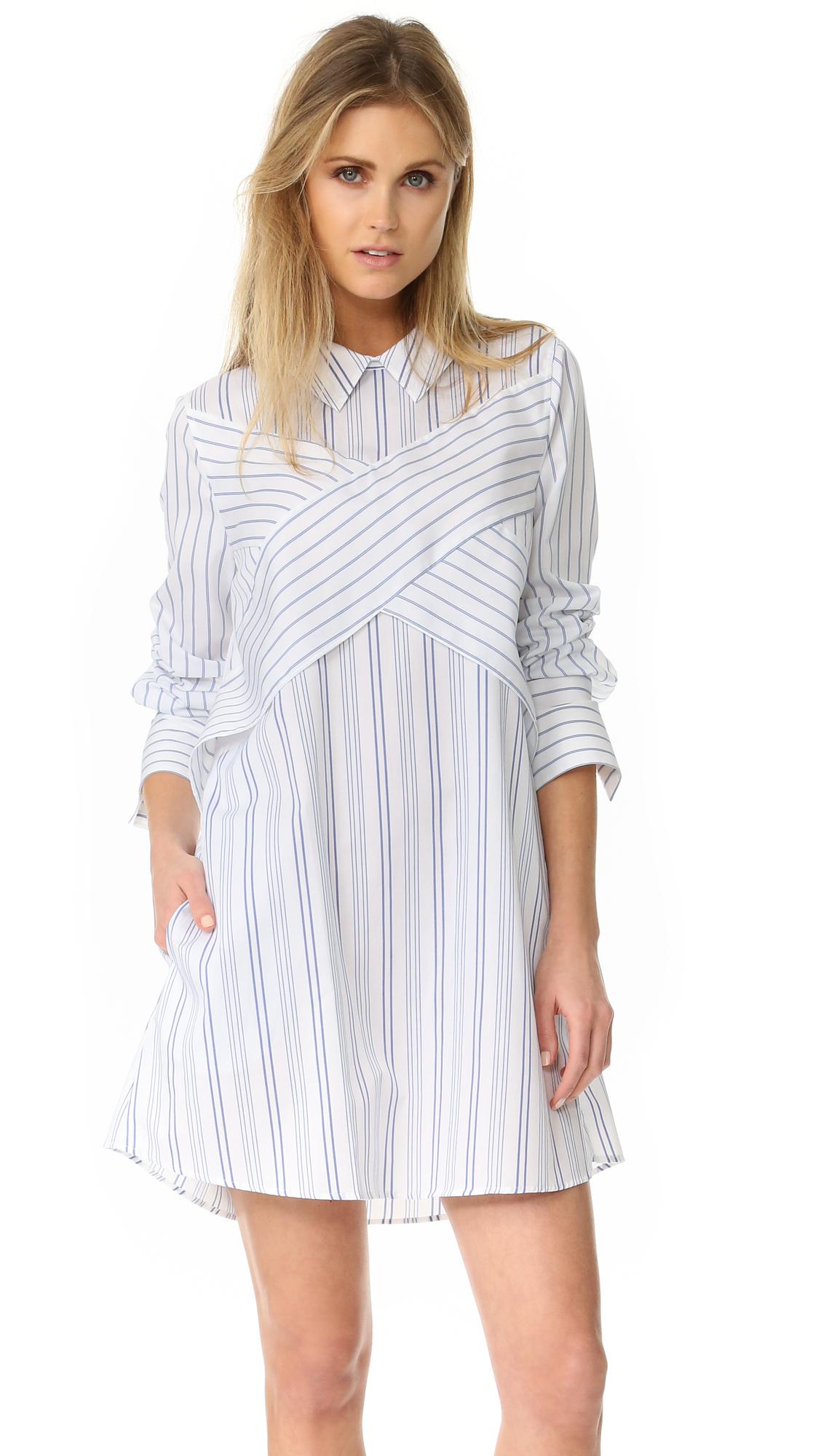 Bcbgmaxazria Crisscross Shirtdress - Blue White Combo at Shopbop