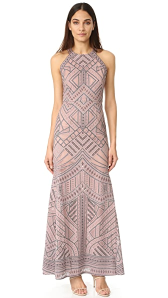 BCBGMAXAZRIA Mesh Inset Gown at Shopbop
