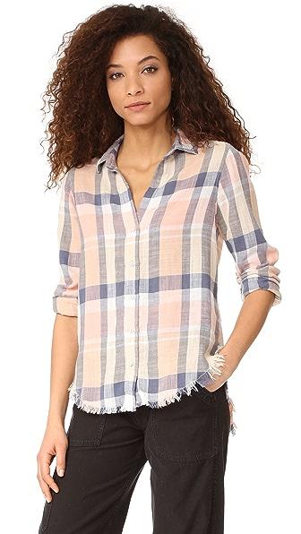 Bella Dahl Frayed Hem Button Down Shirt - Pale Blush