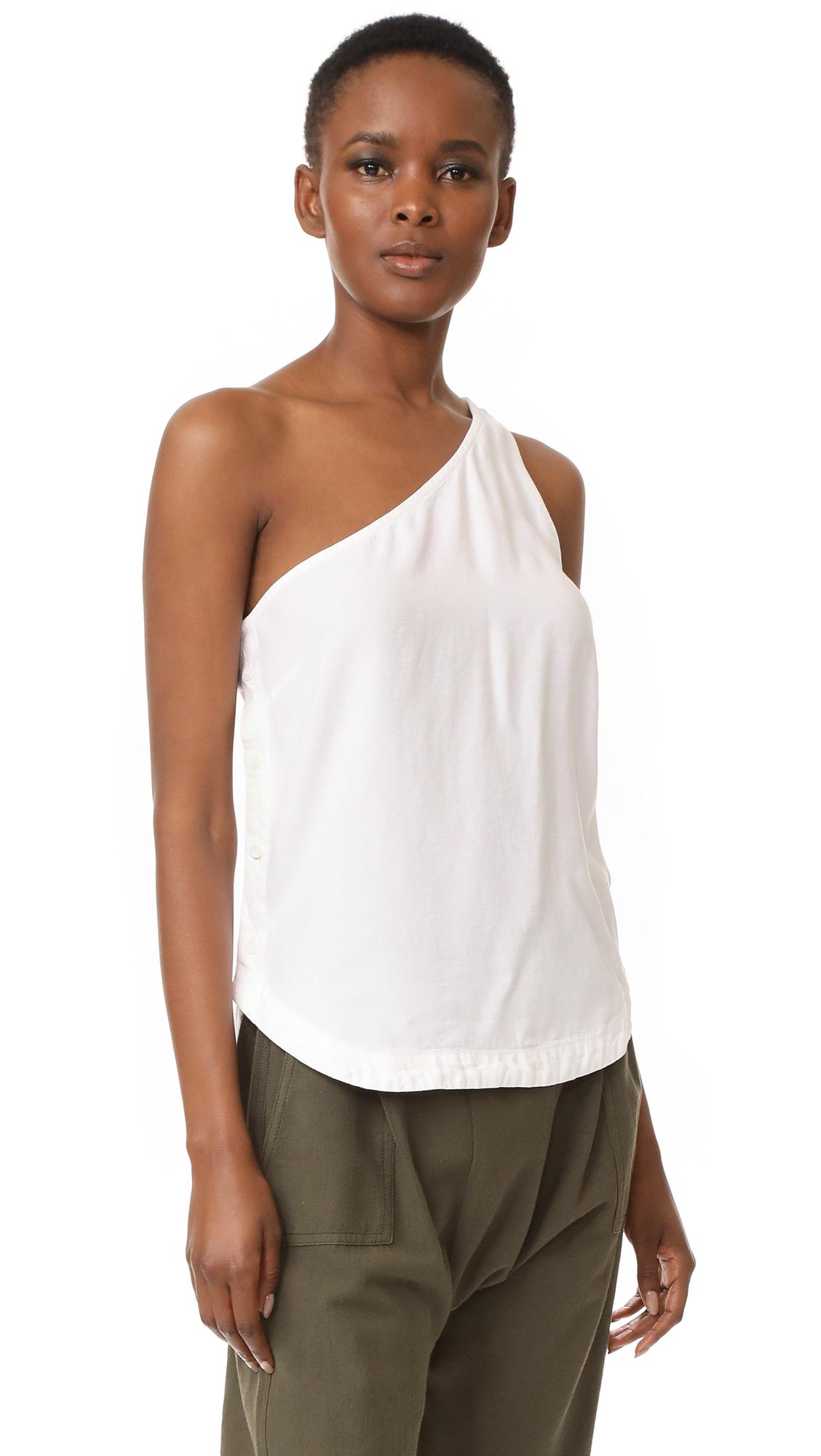 Bella Dahl Side Button One Shoulder Top - White