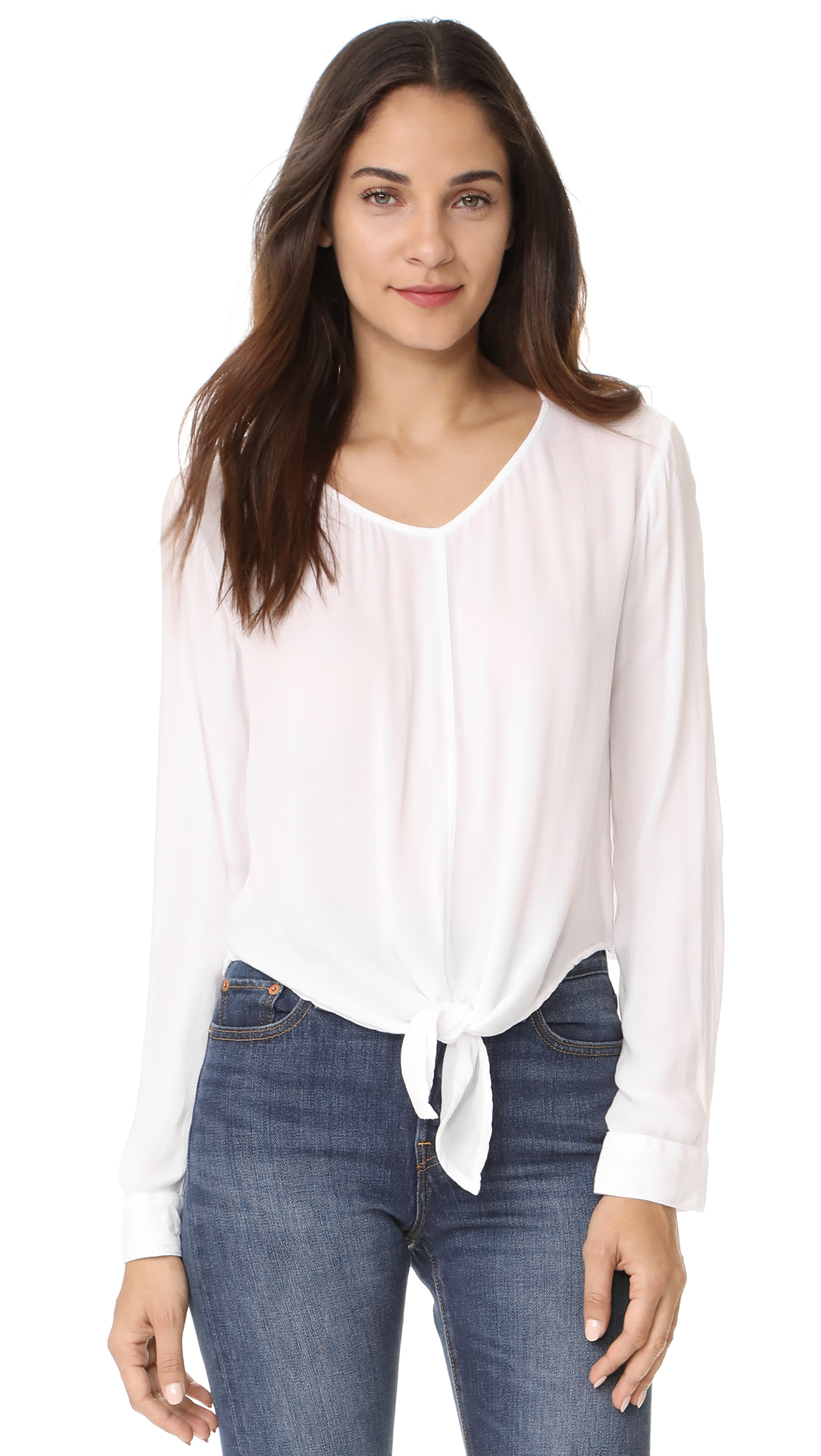 Bella Dahl Tie Front Blouse - White