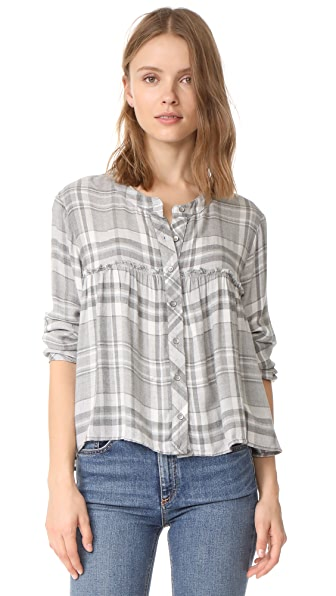 Bella Dahl Ruffle Button Down Shirt - Everest