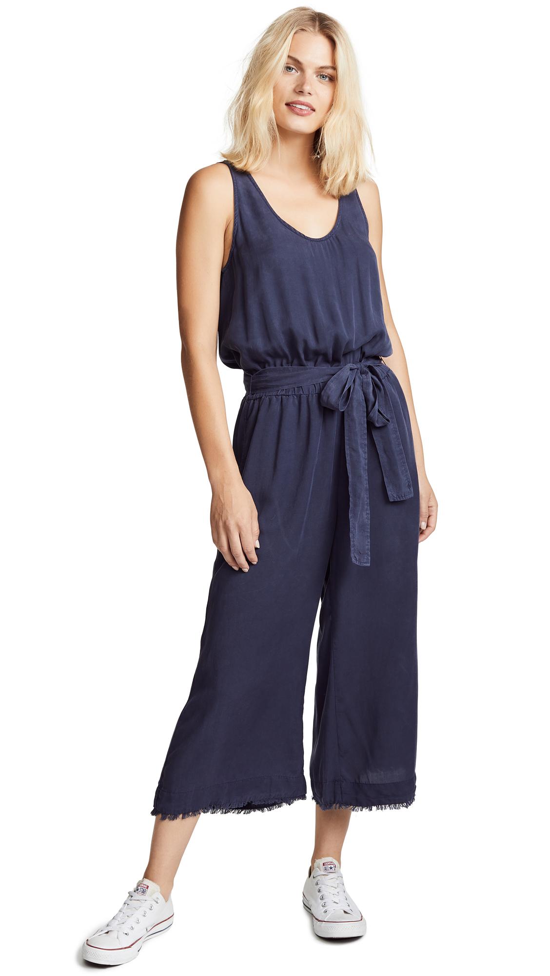 Bella Dahl Belted Tank Crop Jumpsuit In Nocturne Blue
