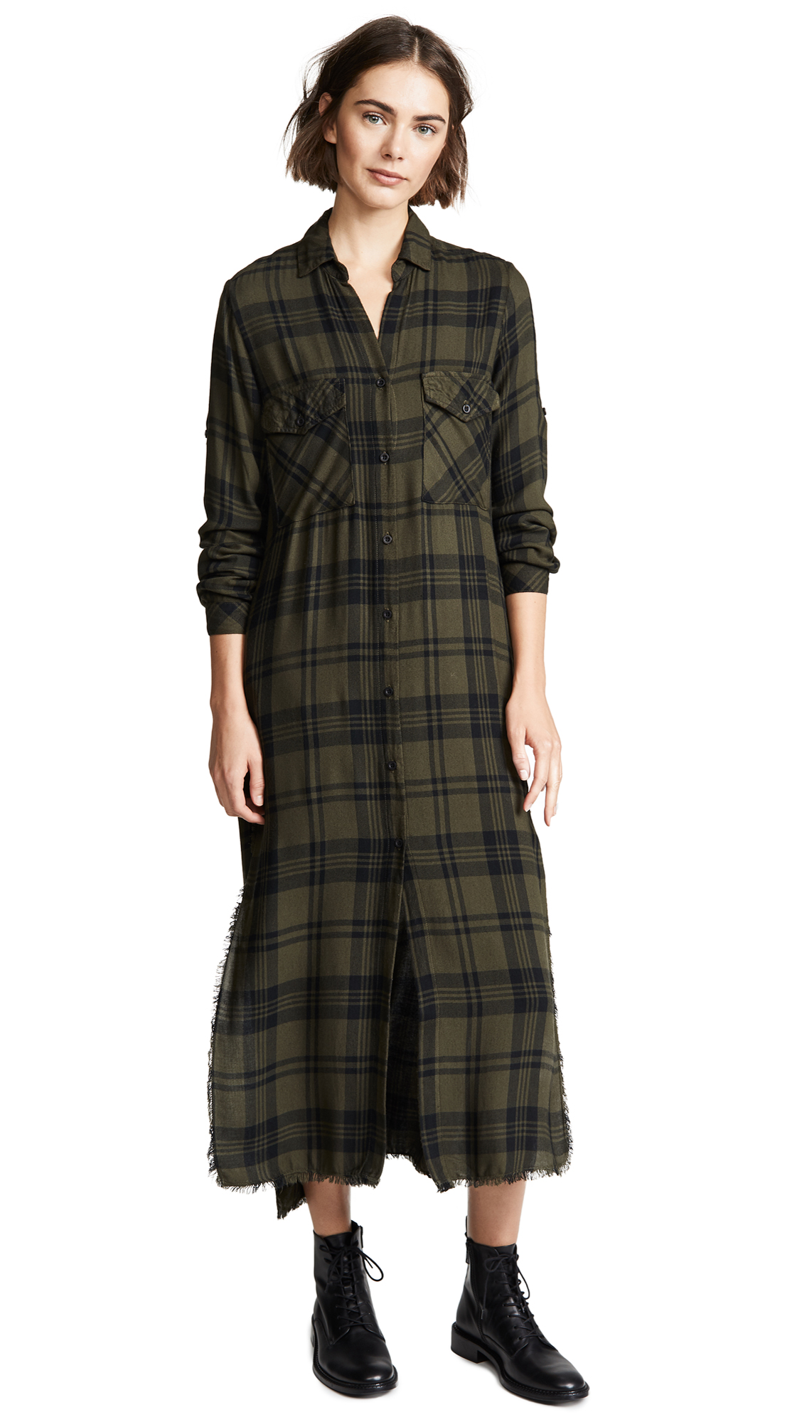 Bella Dahl Maxi Shirt Dress - Army Olive