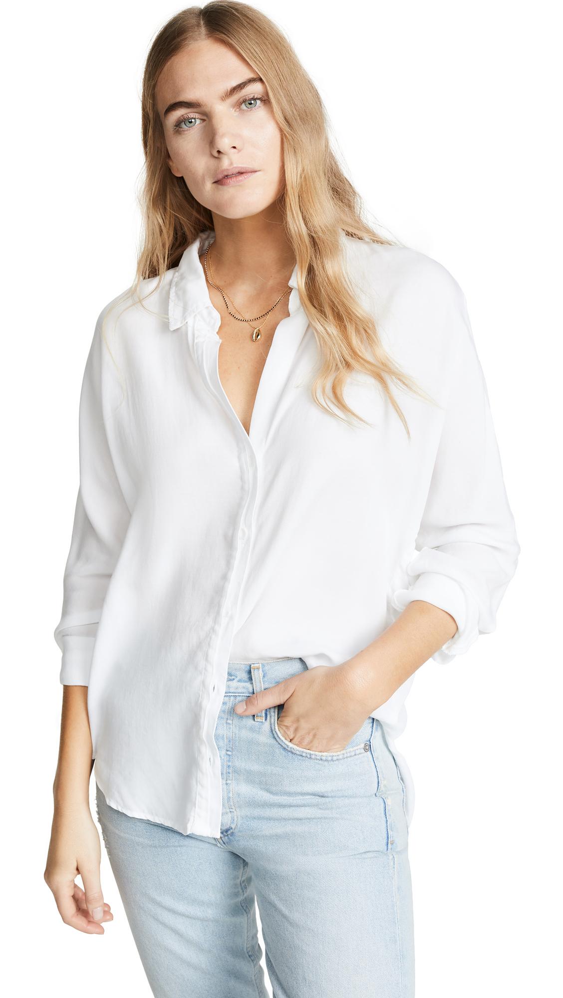 Bella Dahl Half Placket Button Down Shirt - White