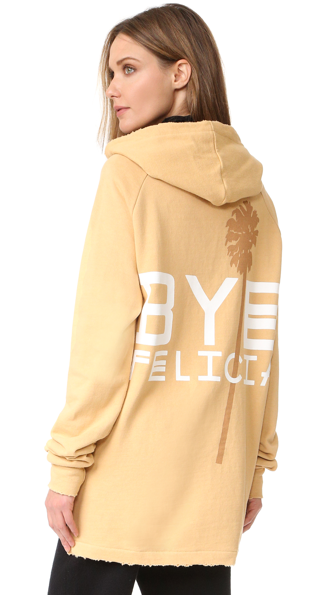 A bold 'Bye Felicia' graphic accents the back of this Baja East hoodie. Worn edges and a split, uneven hem create an undone, relaxed look. Zip half placket. Pouch pocket. Long sleeves. Fabric: French terry. 100% supima
