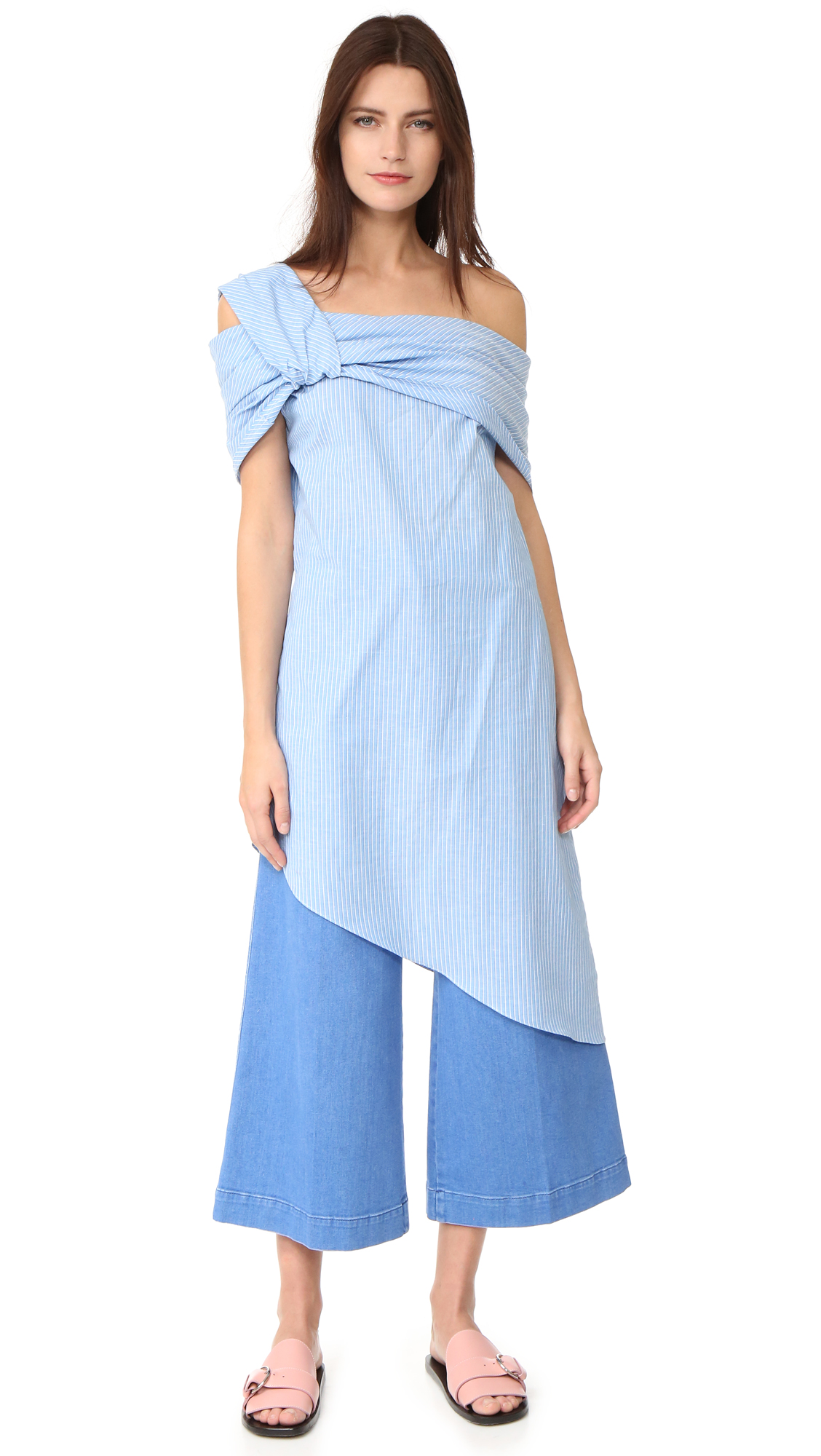 Baja East One Shoulder Dress - Malibu Blue