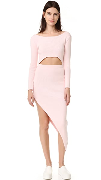 Baja East Long Sleeve Asymmetrical Dress
