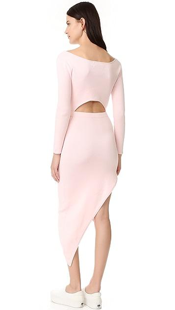 Baja East Long Sleeve Asymmetrical Dress