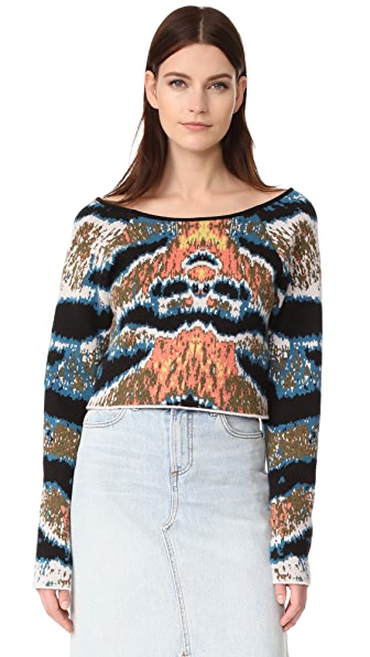 Baja East Cropped Cashmere Sweater - Tiger