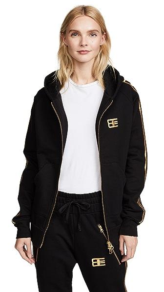 Baja East Zip Up Hoodie In Gold/Black