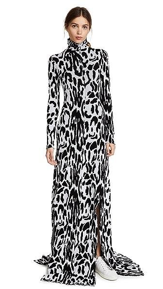 Baja East Turtleneck Long Sleeve Dress In White Leopard