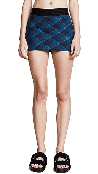 Baja East Plaid Miniskirt