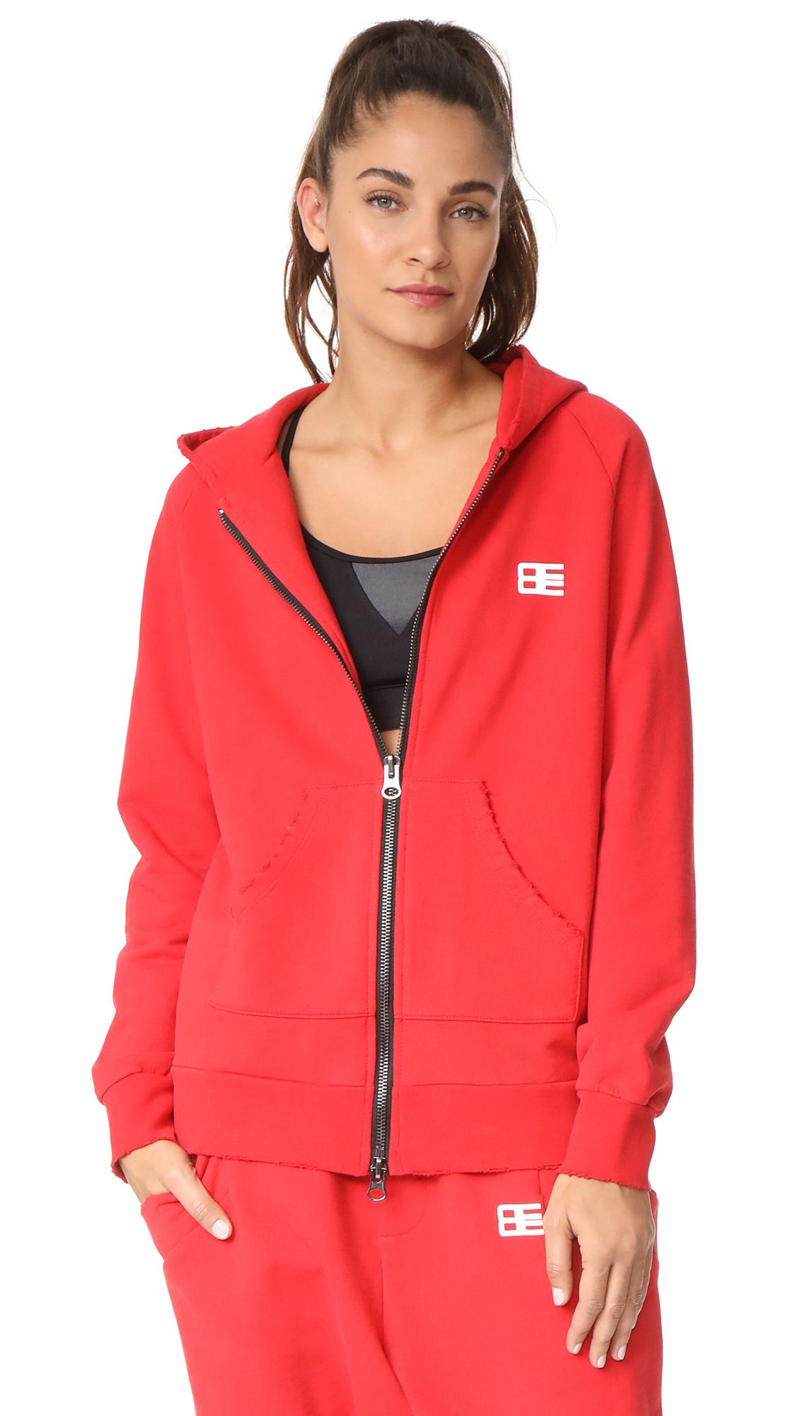 Baja East Bye Felicia Zip Up Hoodie - Red